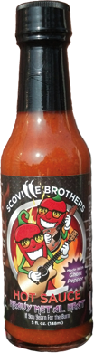 This is our ghost pepper sauce, or Bhut Jolokia. It is our hottest sauce. Although it's hot, it has a robust pepper flavor. Chile heads love this one. It's great in soups, chili, tacos and more!